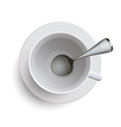 empty white cup with a spoon vector image