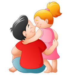 father and her daughter hugging together vector image