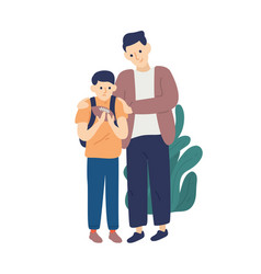 father hug and support son having fail playing vector image