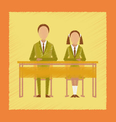 Flat shading style icon pupils at school desk vector
