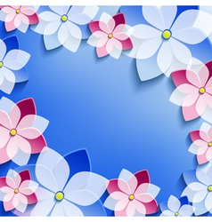 Floral festive frame with 3d flowers sakura vector