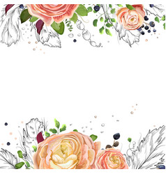 Floral watercolor card design pink peach roses vector