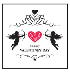 flourish valentines day card with cupids vector image