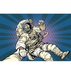Follow me robot astronaut gesture okay vector