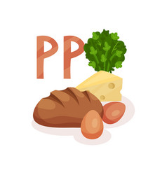 food with vitamin pp nicotinic acid rye bread vector image