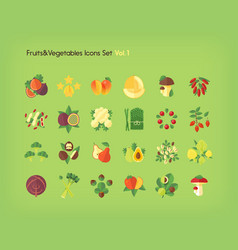 fruit and vegetables icons set flat vector image