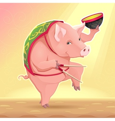 Funny pig with soup bowl and chinese sticks vector