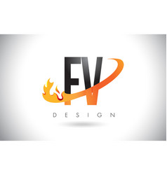 fv f v letter logo with fire flames design and vector image