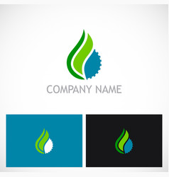 Gear abstract water drop ecology logo vector