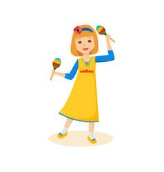 Girl in good festive mood playing the maracas vector