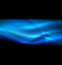 glowing blue abstract wave on dark shiny motion vector image