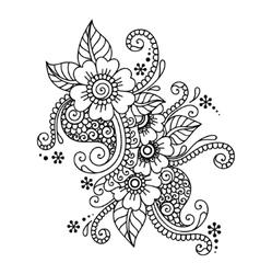 Hand-Drawn Abstract Henna Mehndi Flower Ornament vector image