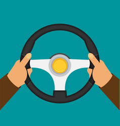 Hands holding steering wheel in flat style vector