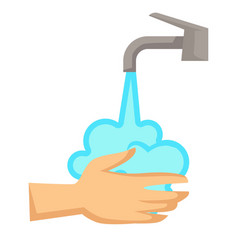 hands washing hygiene and cleanliness water tap vector image