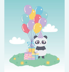 happy birthday cute little panda with gift boxes vector image