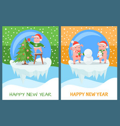 happy new year pig decorating christmas tree set vector image
