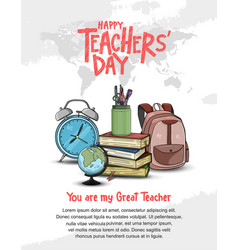 Happy teacher day with world map and school vector