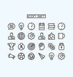 Icons set business office art vector