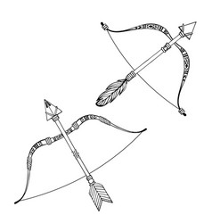 Indian bow and arrows hand drawn vector
