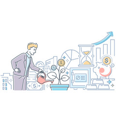 investments concept - modern line design style vector image