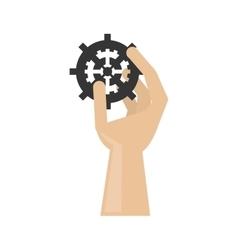 Isolated hand holding gear design vector