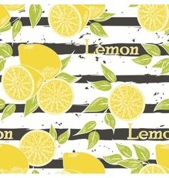 Lemons on dark gray stripes vector