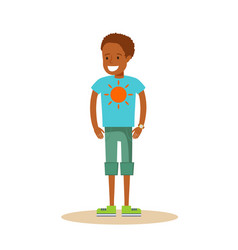 little black boy on white background vector image