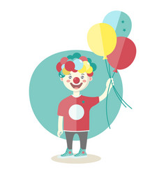 little boy wearing clown nose with air baloons vector image
