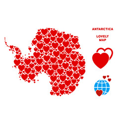 Lovely antarctica map collage of hearts vector