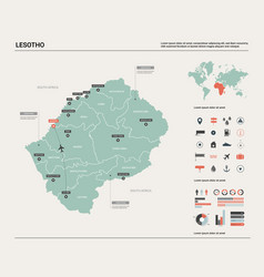 Map lesotho high detailed country vector