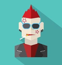 Modern Flat Design Punk Rock Man vector image