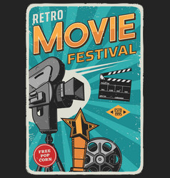 movie cinema film festival retro poster camera vector image