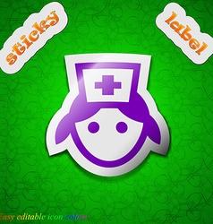 Nurse icon sign Symbol chic colored sticky label vector