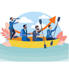 office staff sailing in same boat to goal vector image