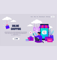 online shopping cartoon people characters making vector image