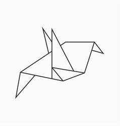 origami bird line geometric figure vector image