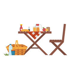 outdoor picnic table and chair vector image