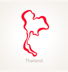 Outline map of thailand marked with red line vector