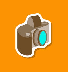 Paper sticker on stylish background camera vector