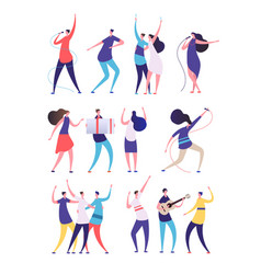 people on birthday party cartoon men women sing vector image