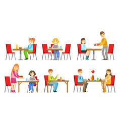 people sitting at tables and eating desserts at vector image