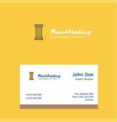 Piller logo design with business card template vector