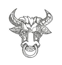 pinzgauer bull head front doodle art vector image