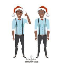 positive black african american guy in santas hat vector image