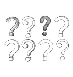 question mark set hand drawn sketch vector image