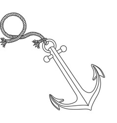 realistic silhouette anchor design with rope break vector image