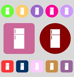 Refrigerator icon sign 12 colored buttons Flat vector
