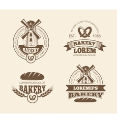 Retro bread bakery old style logos labels badges vector image