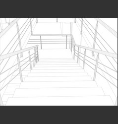 Room staircase and railing vector