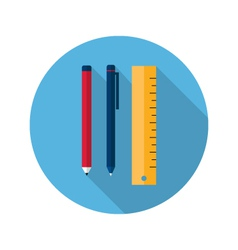 Ruler pen and pencil icon vector